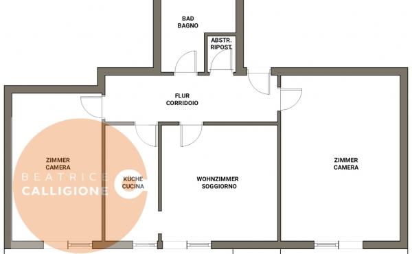 Trilocale via Wolkenstein - VIV - planimetria